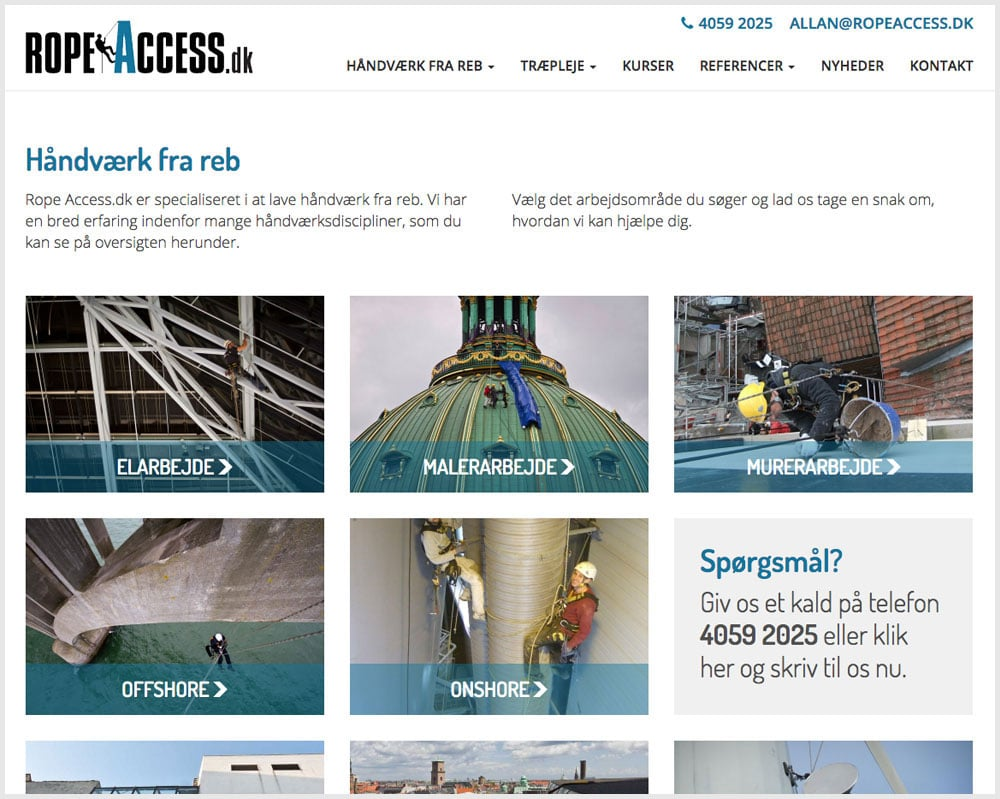Rope Access serviceoversigt